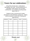 BLANK TREATS TEMPLATE food donation 5 celebrations holidays up to 30 students