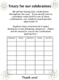 BLANK TREATS TEMPLATE food donation 5 celebrations holidays up to 35 students