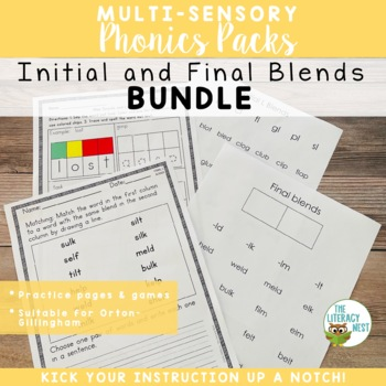 Initial and Final Blends Multisensory Phonics Practice Bundle Orton-Gillingham