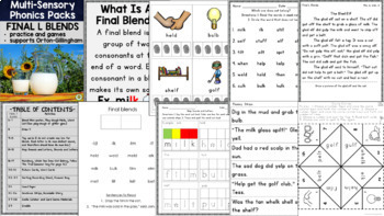 Initial and Final Blends Multisensory Phonics Practice Orton-Gillingham Level 1