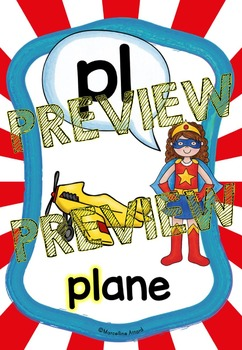 SUPERHERO POSTERS (BLENDS AND DIGRAPHS POSTERS WITH A SUPERHERO THEME)