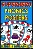 SUPERHERO POSTERS (BLENDS AND DIGRAPHS POSTERS WITH A SUPE