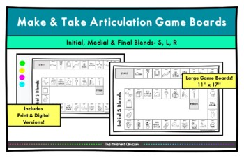 BLENDS ARTICULATION GAME BOARD Make & Take, SPEECH THERAPY