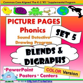 BLENDS & DIGRAPHS! PHONICS CENTERS: PICTURE PAGES Set 5 COLOR