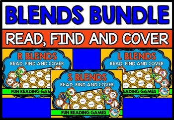 CONSONANT BLENDS GAME BINGO BUNDLE (PHONICS CENTERS KINDERGARTEN AND 1ST GRADE)