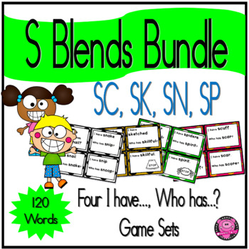 Initial Consonant Blends of S Game Set Featuring SC  SK  SN  SP  Blends