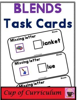 BLENDS Task Cards with Missing Letter