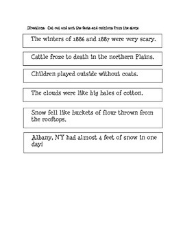 """""""BLIZZARDS""""- comprehension questions, vocab activity and fact/opinion"""