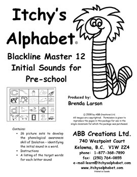 Itchy's Alphabet BLM 12 -  Pre-School Initial Sounds