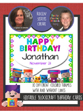 BLOCKCRAFTBirthday Cards EDITABLE w/10 Different Frame Colors