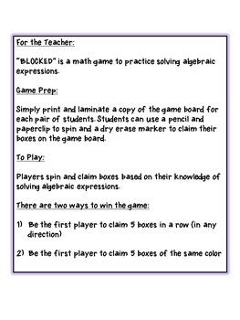 "BLOCKED ""Algebra"": Middle School Math Game for Evaluating Algebraic Expressions"