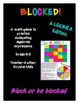 """BLOCKED """"Algebra"""": Middle School Math Game for Evaluating Algebraic Expressions"""