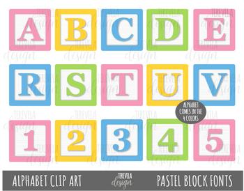 BLOCKS Alphabet Clipart, Alphabet Clip Art, BLOCK FONTS, PASTEL COLORS