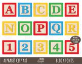 BLOCKS Alphabet Clipart, Alphabet Clip Art, BLOCK FONTS, L