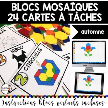 BLOCS MOSAÏQUES - ENSEMBLE COMPLET/Cartes à Tâches (imprimer/virtuel) 4 SAISONS