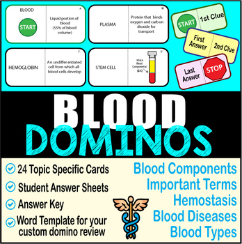 BLOOD DOMINO REVIEW~ 24 Cards + Answer Sheets + Key- ANATOMY