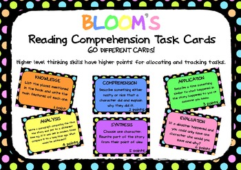 BLOOM'S READING COMPREHENSION QUESTION TASK CARDS