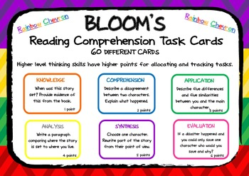 BLOOM'S READING COMPREHENSION QUESTION TASK CARDS Bright Rainbow Chevron
