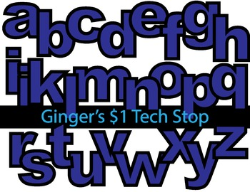BLUE! * Bulletin Board Letters *  Lower Case * Alphabet