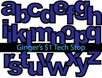 BLUE! * Bulletin Board Letters *  Lower Case * Alphabet