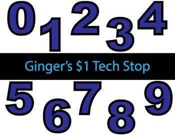 BLUE! * Bulletin Board Letters * Numbers * 0123456789
