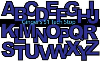 BLUE! * Bulletin Board Letters *  Upper Case * Alphabet