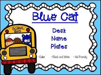 BLUE CAT DESK NAME PLATES (NAME TAGS)