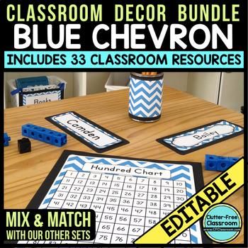 BLUE Classroom Decor CHEVRON, EDITABLE