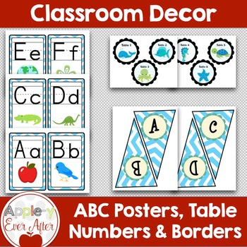 BLUE Chevron Ocean Classroom Decor -OVER 100 PAGES OF CLASSROOM ESSENTIALS