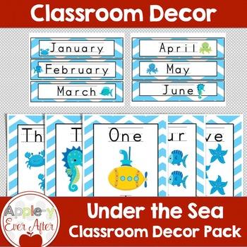 BLUE Chevron Ocean Classroom Decor -OVER 100 PAGES OF CLAS