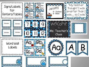 BLUE Classroom Decor (Editable)