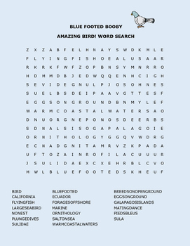BLUE FOOTED BOOBY WORD SEARCH
