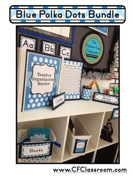 BLUE POLKA DOTS Classroom Decor - EDITABLE Clutter-Free Classroom Decor BUNDLE