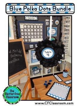 BLUE POLKA DOT Classroom Decor EDITABLE