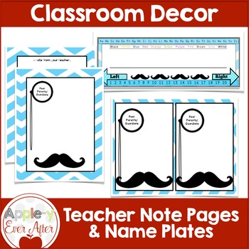 BLUE Chevron Mustache Classroom Decor -OVER 100 PAGES OF CLASSROOM ESSENTIALS