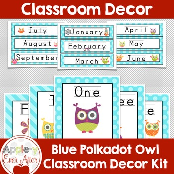 BLUE Polkadot OWL Classroom Decoration -OVER 100 PAGES OF
