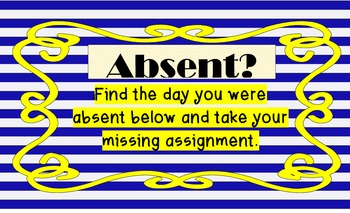 BLUE & YELLOW Classroom Theme Absent Signs