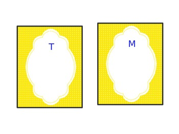 BLUE & YELLOW Classroom Theme Oval Shaped labels for days of the week