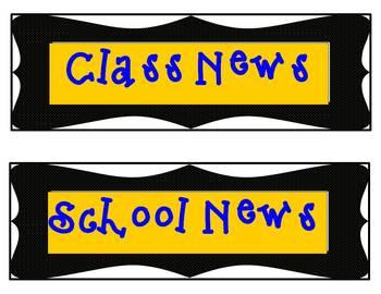 BLUE & YELLOW Classroom Theme Rectangular Signs