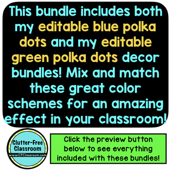 BLUE and GREEN Polka Dots Classroom Decor Bundle EDITABLE
