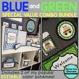 BLUE and GREEN Polka Dots Classroom Decor Bundle EDITABLE