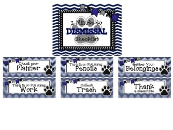 BLUE/BLACK {Paw Print} 1 Minute Dismissal Set