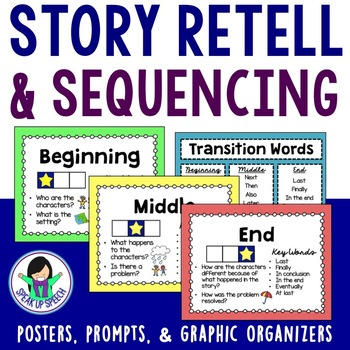 Story Retell - Beginning, Middle, and End Visuals & Graphic Organizers