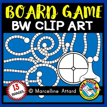 GAME BOARD CLIPART: 10 TEMPLATES + SPINNER + GAME PIECES: BOARD GAME CLIPART