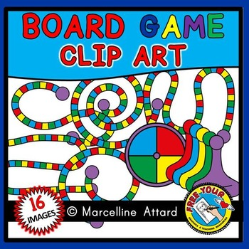 GAME BOARD CLIPART (10 TEMPLATES, GAME PIECES AND SPINNER CLIPART