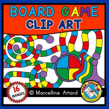 GAME BOARD CLIPART: 10 TEMPLATES + SPINNER + GAME PIECES: