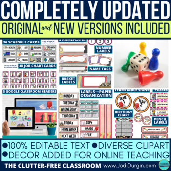 BOARD GAMES THEME Classroom Decor - EDITABLE Clutter-Free Classroom Decor BUNDLE
