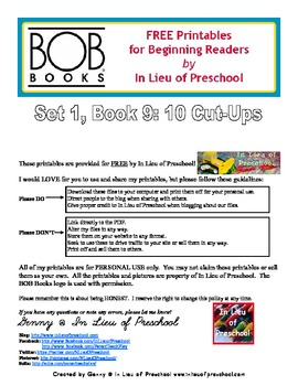 BOB Books Printables for Beginning Readers: Set 1, Book 9 10 Cut Ups