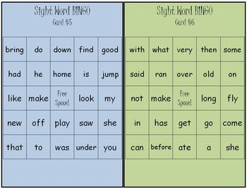 Sight Word Bingo Game Set