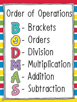 BODMAS Poster - Order of Operations
